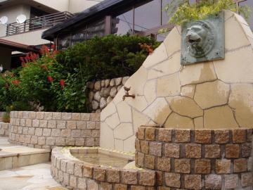 ライオンの壁泉がお出迎えの写真