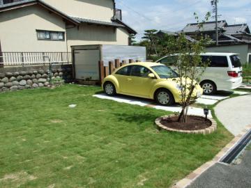 緑の駐車場の写真
