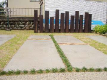 枕木のフェンスの写真